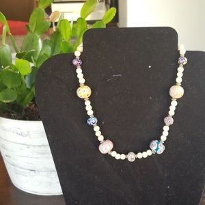 Handmade Cats Eye, Sterling & Glass Bead Necklace